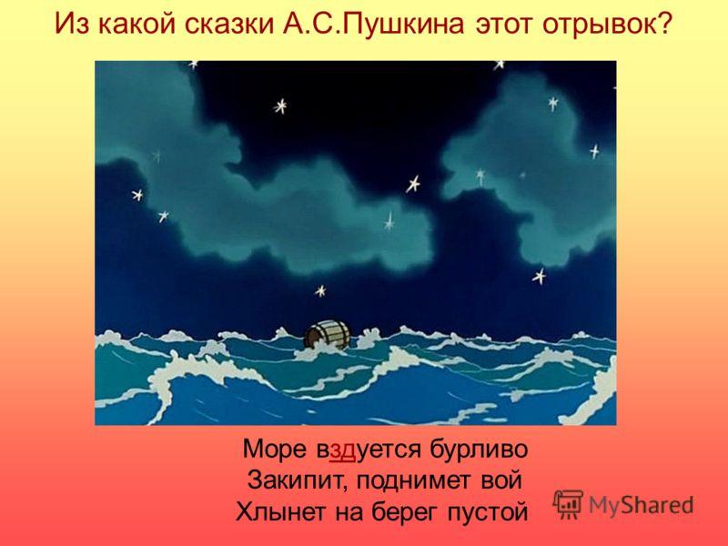 Море вздуется бурливо Закипит, поднимет вой Хлынет на берег пустой Из какой сказки А.С.Пушкина этот отрывок?