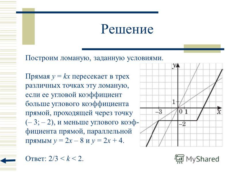 Решение Построим ломаную, заданную условиями. Прямая у = kx пересекает в трех различных точках эту ломаную, если ее угловой коэффициент больше углового коэффициента прямой, проходящей через точку (– 3; – 2), и меньше углового коэф- фициента прямой, п