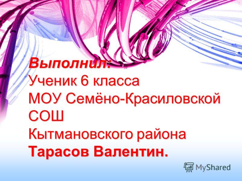 Выполнил: Ученик 6 класса МОУ Семёно-Красиловской СОШ Кытмановского района Тарасов Валентин.
