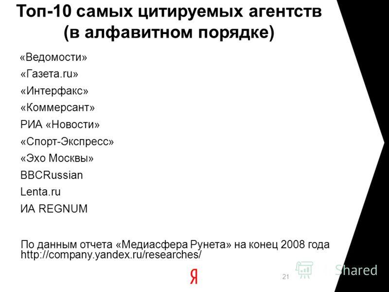 Топ-10 самых цитируемых агентств (в алфавитном порядке) «Ведомости» «Газета.ru» «Интерфакс» «Коммерсант» РИА «Новости» «Спорт-Экспресс» «Эхо Москвы» BBCRussian Lenta.ru ИА REGNUM 21 По данным отчета «Медиасфера Рунета» на конец 2008 года http://compa