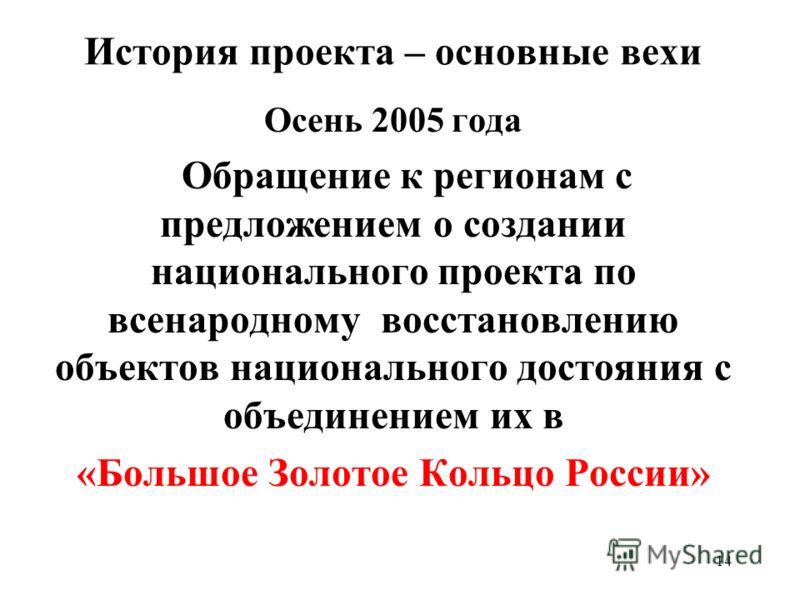 14 История проекта – основные вехи Осень 2005 года Обращение к регионам с предложением о создании национального проекта по всенародному восстановлению объектов национального достояния с объединением их в «Большое Золотое Кольцо России»