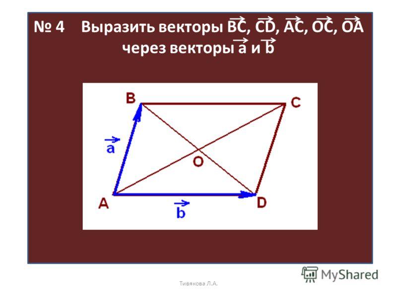 4 Выразить векторы ВС, CD, AC, OC, OA через векторы а и b Тивякова Л.А.