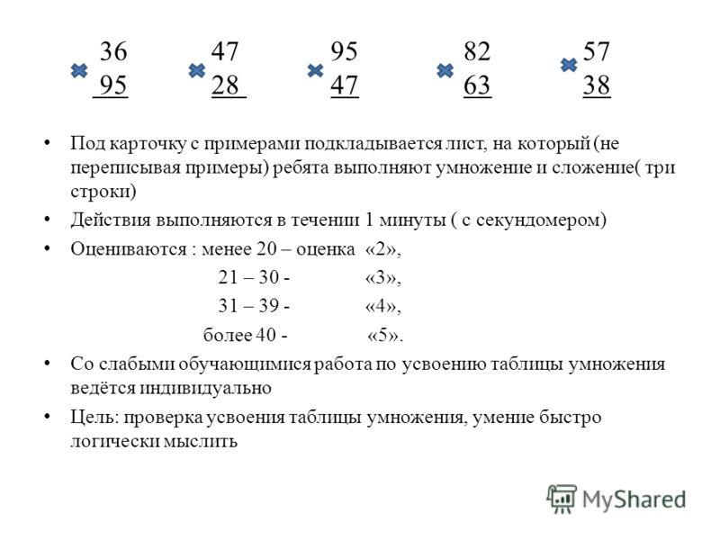 36 47 95 82 57 95 28 47 63 38 Под карточку с примерами подкладывается лист, на который (не переписывая примеры) ребята выполняют умножение и сложение( три строки) Действия выполняются в течении 1 минуты ( с секундомером) Оцениваются : менее 20 – оцен