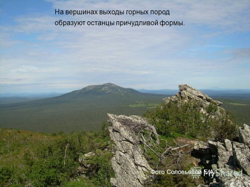На вершинах выходы горных пород образуют останцы причудливой формы. Фото Соловьевой Е.А.