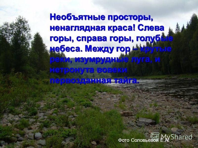 Необъятные просторы, ненаглядная краса! Слева горы, справа горы, голубые небеса. Между гор – крутые реки, изумрудные луга, и нетронута вовеки первозданная тайга. Фото Соловьевой Е.А.