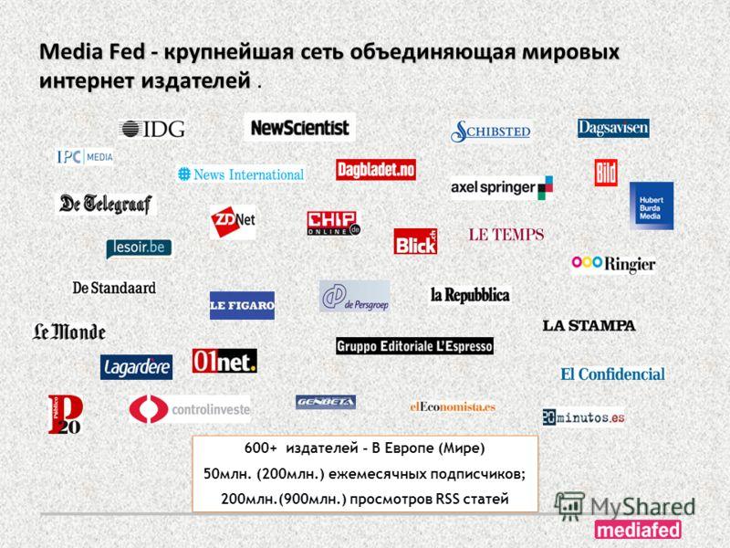 600+ издателей - В Европе (Мире) 50млн. (200млн.) ежемесячных подписчиков; 200млн.(900млн.) просмотров RSS статей 600+ издателей - В Европе (Мире) 50млн. (200млн.) ежемесячных подписчиков; 200млн.(900млн.) просмотров RSS статей Media Fed - крупнейшая