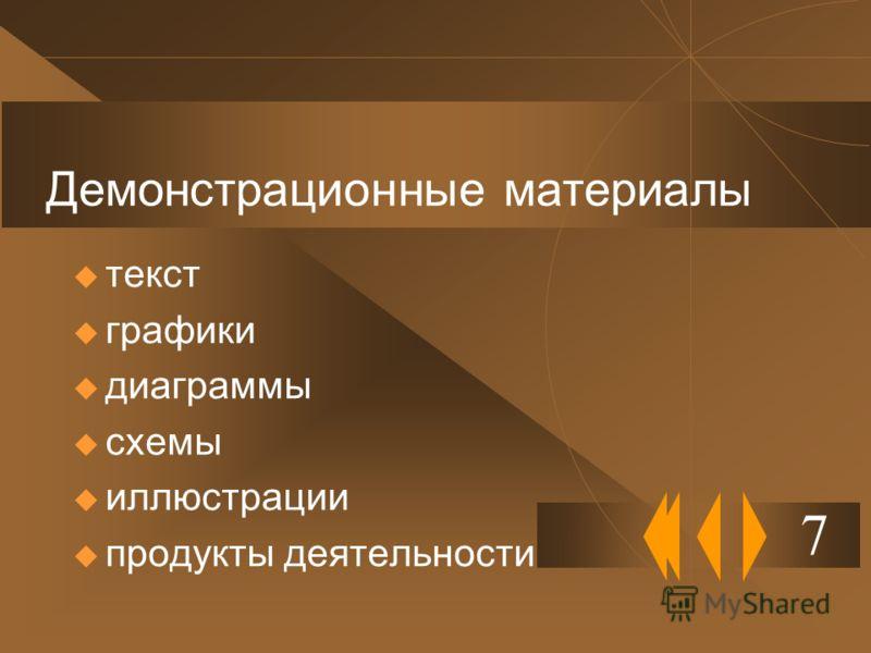 Демонстрационные материалы текст графики диаграммы схемы иллюстрации продукты деятельности 7