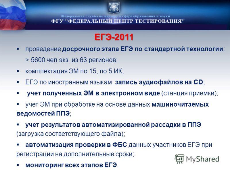ЕГЭ-2011 проведение досрочного этапа ЕГЭ по стандартной технологии: > 5600 чел.экз. из 63 регионов; комплектация ЭМ по 15, по 5 ИК; ЕГЭ по иностранным языкам: запись аудиофайлов на CD; учет полученных ЭМ в электронном виде (станция приемки); учет ЭМ