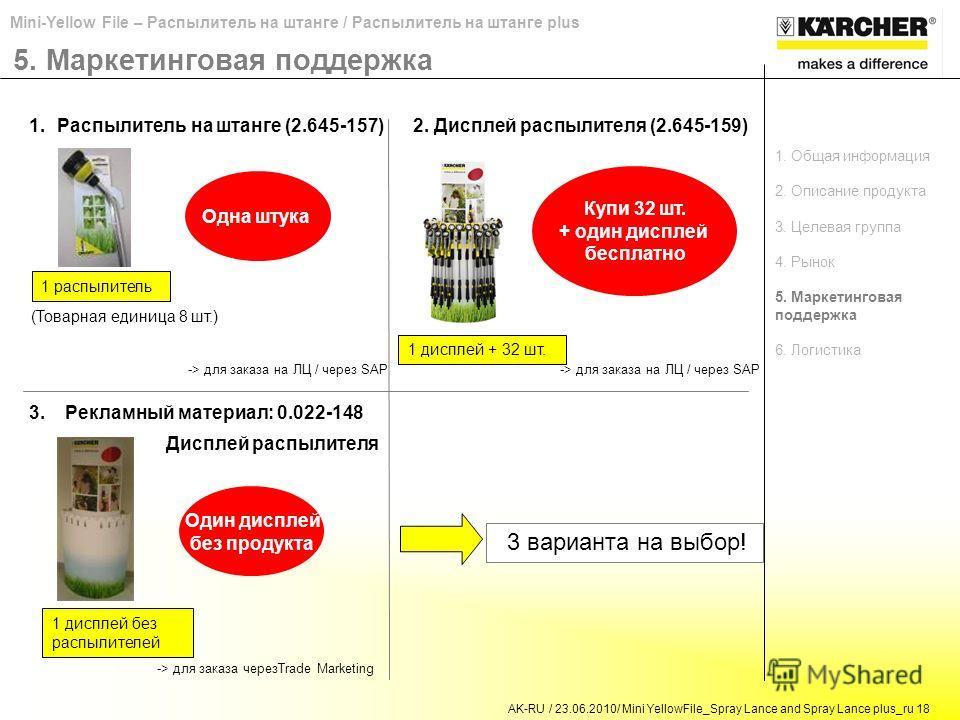AK-RU / 23.06.2010/ Mini YellowFile_Spray Lance and Spray Lance plus_ru 18 Mini-Yellow File – Распылитель на штанге / Распылитель на штанге plus 5. Маркетинговая поддержка 1.Распылитель на штанге (2.645-157)2. Дисплей распылителя (2.645-159) 3.Реклам