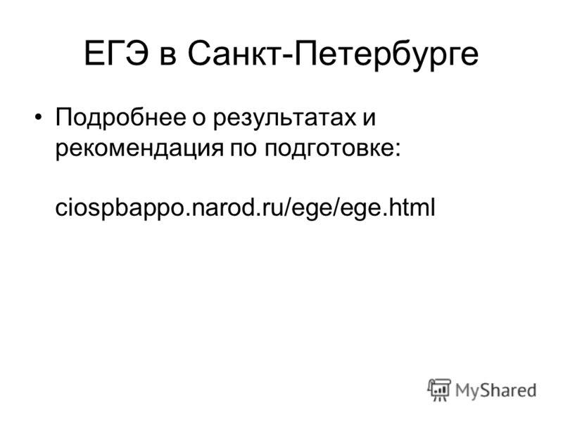 ЕГЭ в Санкт-Петербурге Подробнее о результатах и рекомендация по подготовке: ciospbappo.narod.ru/ege/ege.html