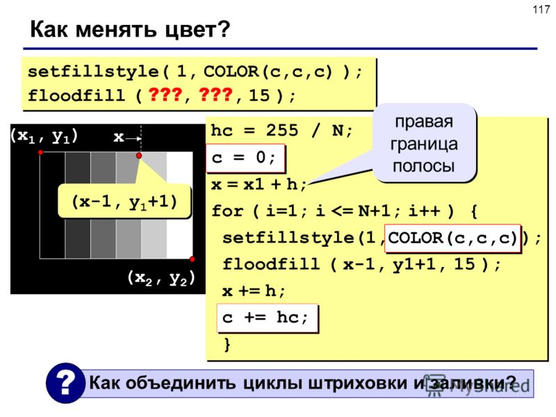 117 Как менять цвет? setfillstyle( 1, COLOR(c,c,c) ); floodfill ( ???, ???, 15 ); setfillstyle( 1, COLOR(c,c,c) ); floodfill ( ???, ???, 15 ); hc = 255 / N; c = 0; x = x1 + h; for ( i=1; i