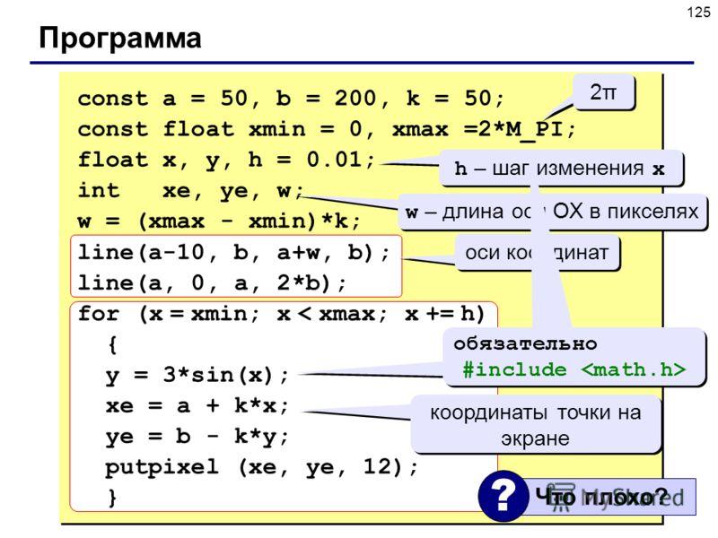 125 Программа const a = 50, b = 200, k = 50; const float xmin = 0, xmax =2*M_PI; float x, y, h = 0.01; int xe, ye, w; w = (xmax - xmin)*k; line(a-10, b, a+w, b); line(a, 0, a, 2*b); for (x = xmin; x < xmax; x += h) { y = 3*sin(x); xe = a + k*x; ye =
