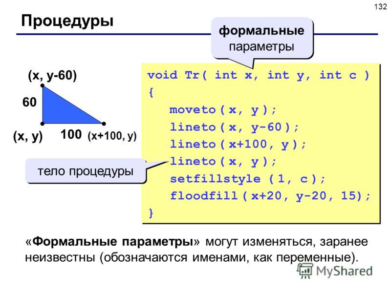 132 Процедуры (x, y) 100 60 (x+100, y) (x, y-60) void Tr( int x, int y, int c ) { moveto ( x, y ); lineto ( x, y-60 ); lineto ( x+100, y ); lineto ( x, y ); setfillstyle ( 1, c ); floodfill ( x+20, y-20, 15); } тело процедуры формальные параметры «Фо