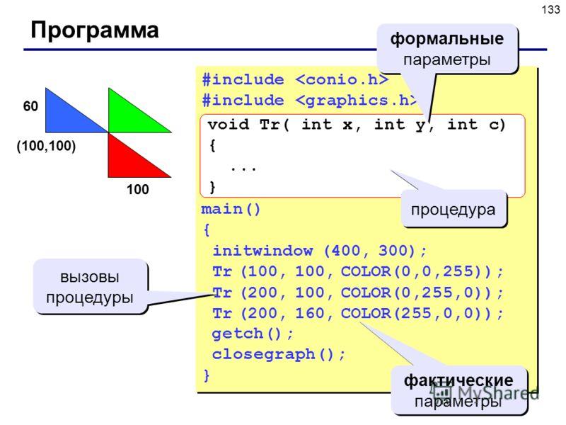 133 Программа #include main() { initwindow (400, 300); Tr (100, 100, COLOR(0,0,255)); Tr (200, 100, COLOR(0,255,0)); Tr (200, 160, COLOR(255,0,0)); getch(); closegraph(); } #include main() { initwindow (400, 300); Tr (100, 100, COLOR(0,0,255)); Tr (2