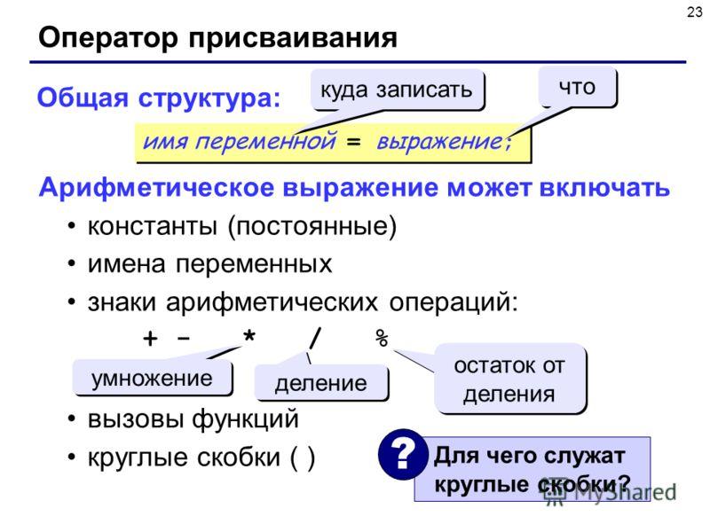 23 Оператор присваивания Общая структура: Арифметическое выражение может включать константы (постоянные) имена переменных знаки арифметических операций: + - * / % вызовы функций круглые скобки ( ) умножение деление остаток от деления имя переменной =