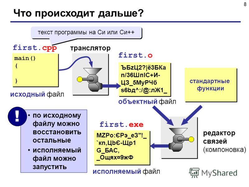 8 Что происходит дальше? main() { } main() { } first.cpp исходный файл first.o транслятор ЪБzЦ2?|ё3БКа n/36ШпIC+И- ЦЗ_5МyРЧб s6bд^:/@:лЖ1_ ЪБzЦ2?|ё3БКа n/36ШпIC+И- ЦЗ_5МyРЧб s6bд^:/@:лЖ1_ объектный файл стандартные функции редактор связей (компоновка