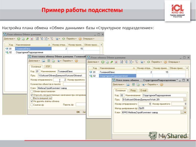 Настройка плана обмена «Обмен данными» базы «Структурное подразделение»: