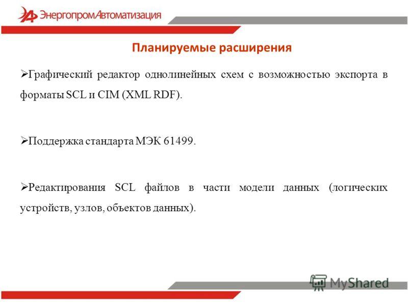 Планируемые расширения Графический редактор однолинейных схем с возможностью экспорта в форматы SCL и CIM (XML RDF). Поддержка стандарта МЭК 61499. Редактирования SCL файлов в части модели данных (логических устройств, узлов, объектов данных).