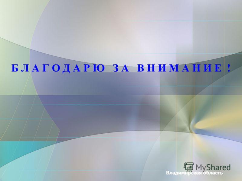 Владимирская область Б Л А Г О Д А Р Ю З А В Н И М А Н И Е !