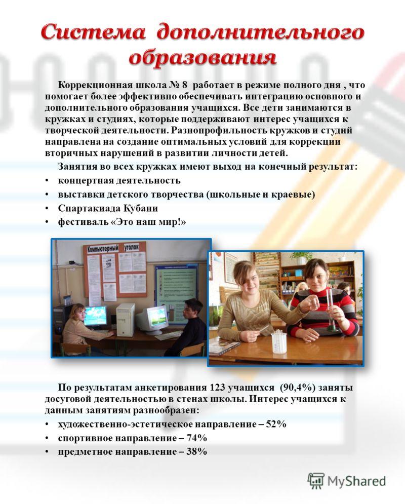 Коррекционная школа 8 работает в режиме полного дня, что помогает более эффективно обеспечивать интеграцию основного и дополнительного образования учащихся. Все дети занимаются в кружках и студиях, которые поддерживают интерес учащихся к творческой д
