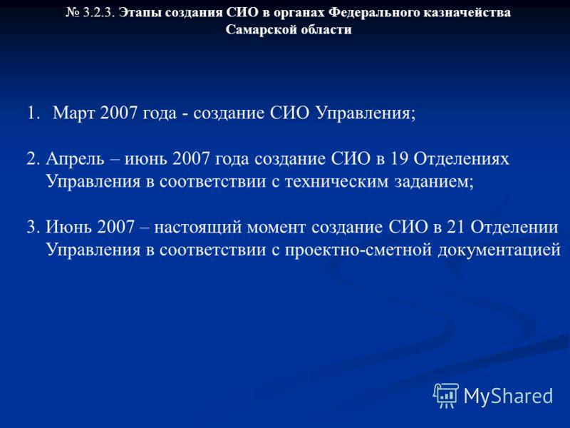 3.2.3. Этапы создания СИО в органах Федерального казначейства Самарской области 1. Март 2007 года - создание СИО Управления; 2. Апрель – июнь 2007 года создание СИО в 19 Отделениях Управления в соответствии с техническим заданием; 3. Июнь 2007 – наст