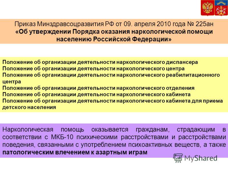 Приказ Минздравсоцразвития РФ от 09. апреля 2010 года 225ан «Об утверждении Порядка оказания наркологической помощи населению Российской Федерации» Наркологическая помощь оказывается гражданам, страдающим в соответствии с МКБ-10 психическими расстрой