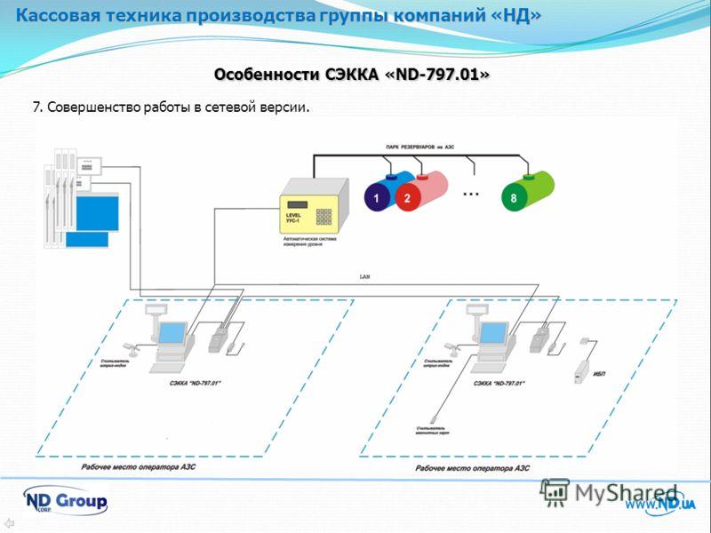 Кассовая техника производства группы компаний «НД» Особенности СЭККА «ND-797.01» 7. Совершенство работы в сетевой версии.