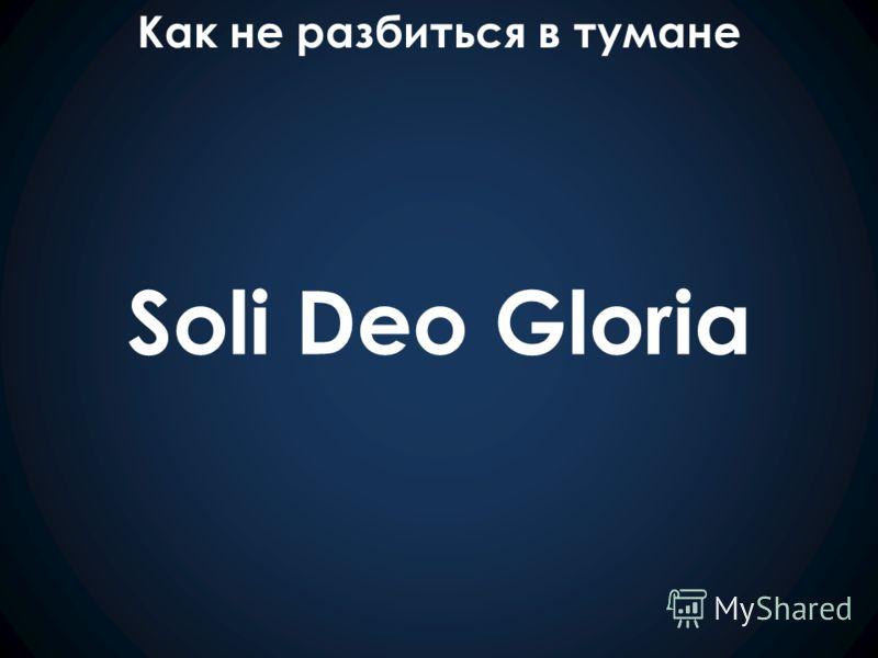 Как не разбиться в тумане Soli Deo Gloria