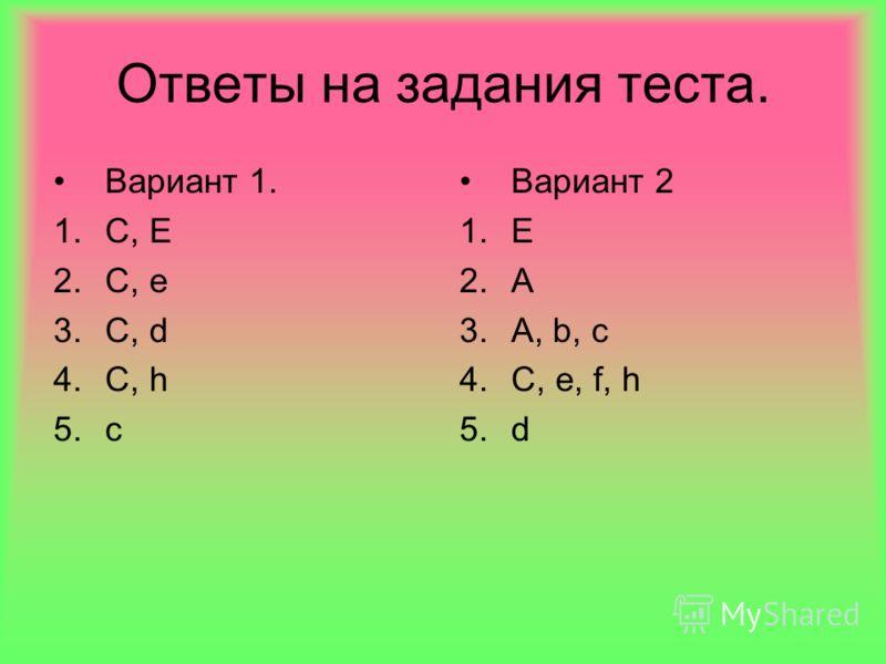 Ответы на задания теста. Вариант 1. 1.C, E 2.C, e 3.C, d 4.C, h 5.c Вариант 2 1.E 2.A 3.A, b, c 4.C, e, f, h 5.d