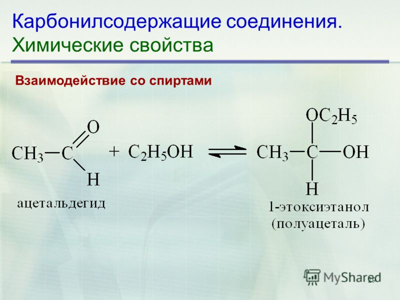 29 Карбонилсодержащие соединения. Химические свойства Взаимодействие со спиртами