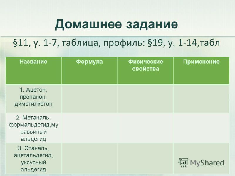 Домашнее задание §11, у. 1-7, таблица, профиль: §19, у. 1-14,табл 51 НазваниеФормулаФизические свойства Применение 1. Ацетон, пропанон, диметилкетон 2. Метаналь, формальдегид,му равьиный альдегид 3. Этаналь, ацетальдегид, уксусный альдегид
