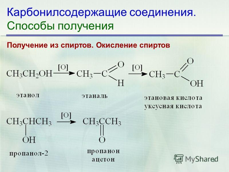 9 Карбонилсодержащие соединения. Способы получения Получение из спиртов. Окисление спиртов