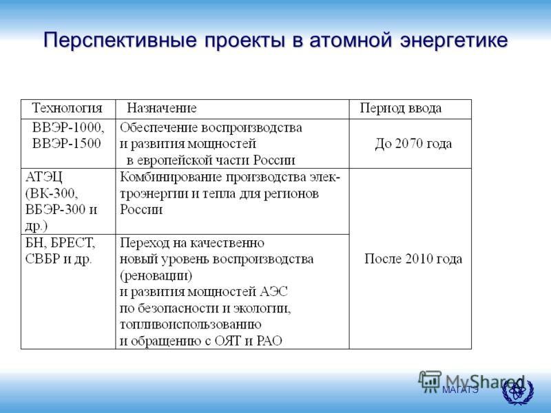 МАГАТЭ Перспективные проекты в атомной энергетике