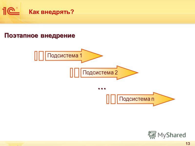 13 Как внедрять? Поэтапное внедрение Подсистема 1 Подсистема 2 Подсистема n …