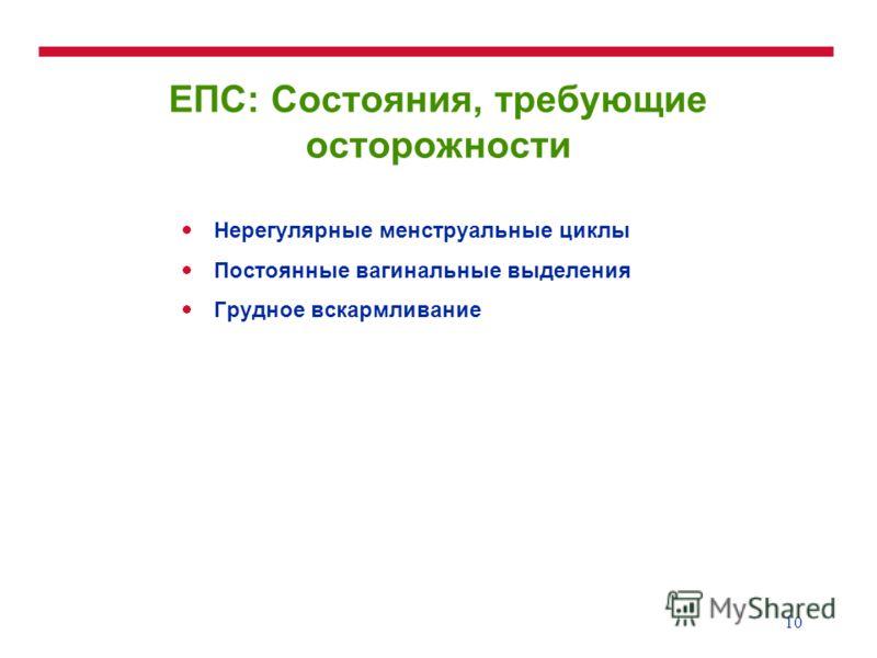 10 ЕПС: Состояния, требующие осторожности Нерегулярные менструальные циклы Постоянные вагинальные выделения Грудное вскармливание