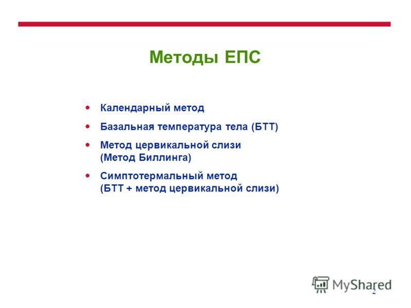 2 Методы ЕПС Календарный метод Базальная температура тела (БТТ) Метод цервикальной слизи (Метод Биллинга) Симптотермальный метод (БТТ + метод цервикальной слизи)