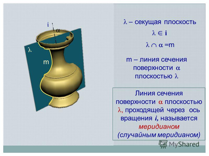 i λ λ – секущая плоскость m – линия сечения поверхности плоскостью λ λ i Линия сечения поверхности плоскостью λ, проходящей через ось вращения i, называется меридианом (случайным меридианом) λ = m m
