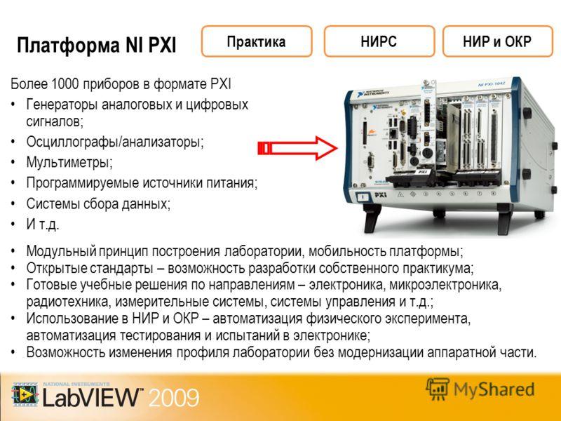 Платформа NI PXI Более 1000 приборов в формате PXI Генераторы аналоговых и цифровых сигналов; Осциллографы/анализаторы; Мультиметры; Программируемые источники питания; Системы сбора данных; И т.д. Модульный принцип построения лаборатории, мобильность
