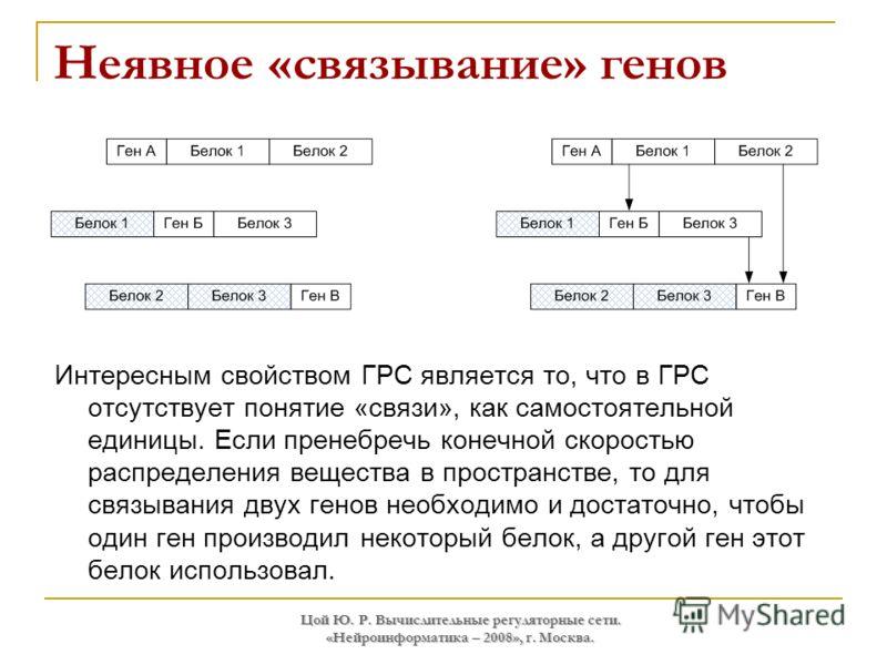 Цой Ю. Р. Вычислительные регуляторные сети. «Нейроинформатика – 2008», г. Москва. Неявное «связывание» генов Интересным свойством ГРС является то, что в ГРС отсутствует понятие «связи», как самостоятельной единицы. Если пренебречь конечной скоростью
