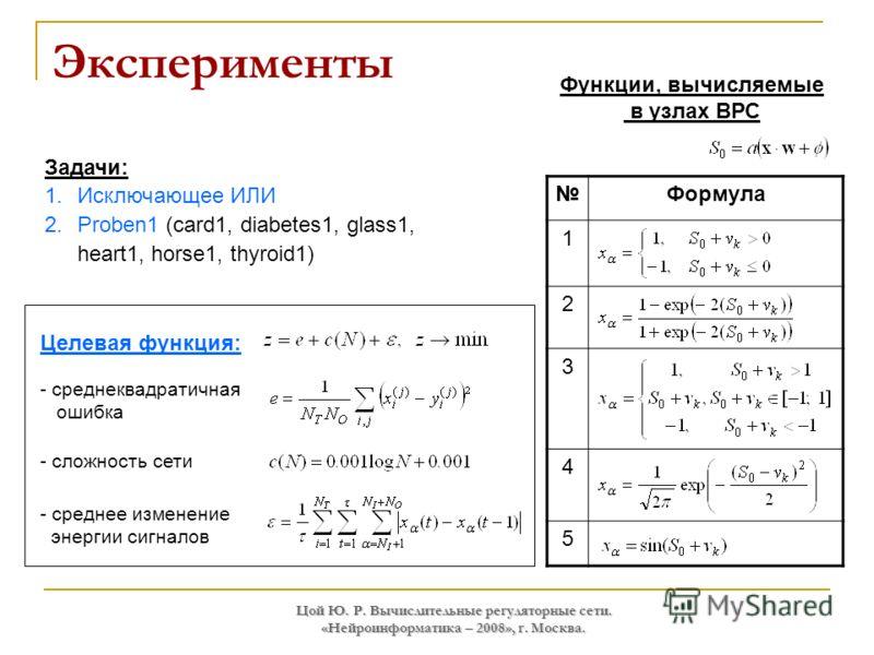 Цой Ю. Р. Вычислительные регуляторные сети. «Нейроинформатика – 2008», г. Москва. Эксперименты Формула 1 2 3 4 5 Функции, вычисляемые в узлах ВРС Задачи: 1.Исключающее ИЛИ 2.Proben1 (card1, diabetes1, glass1, heart1, horse1, thyroid1) Целевая функция