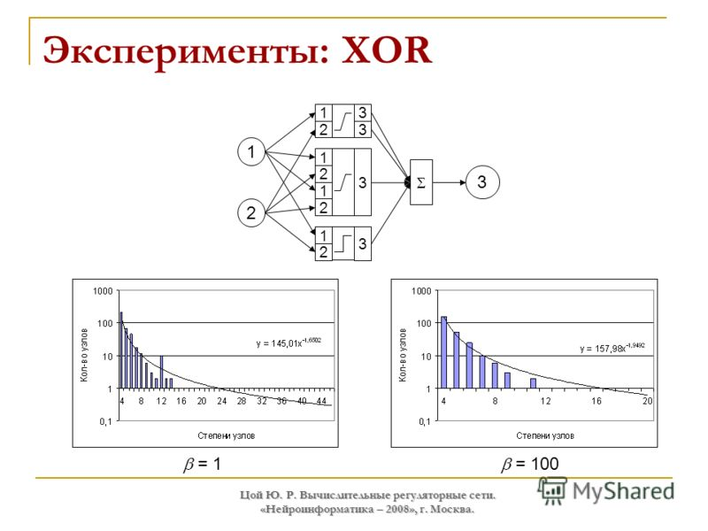 Цой Ю. Р. Вычислительные регуляторные сети. «Нейроинформатика – 2008», г. Москва. Эксперименты: XOR = 1 = 100 1 2 3 3 1 2 3 1 2 1 2 3 1 2 3