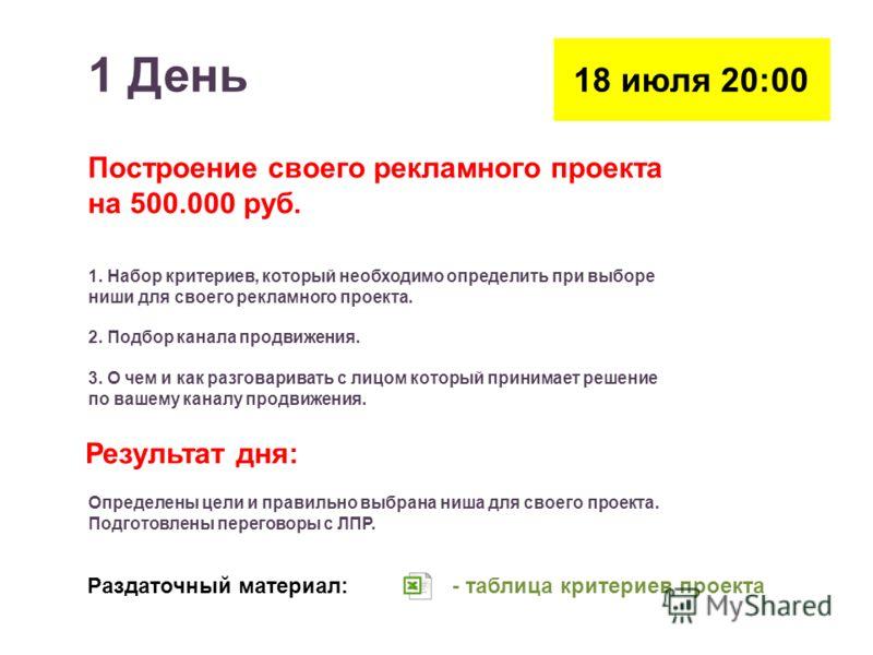 1 День 18 июля 20:00 Построение своего рекламного проекта на 500.000 руб. 1. Набор критериев, который необходимо определить при выборе ниши для своего рекламного проекта. 2. Подбор канала продвижения. 3. О чем и как разговаривать с лицом который прин