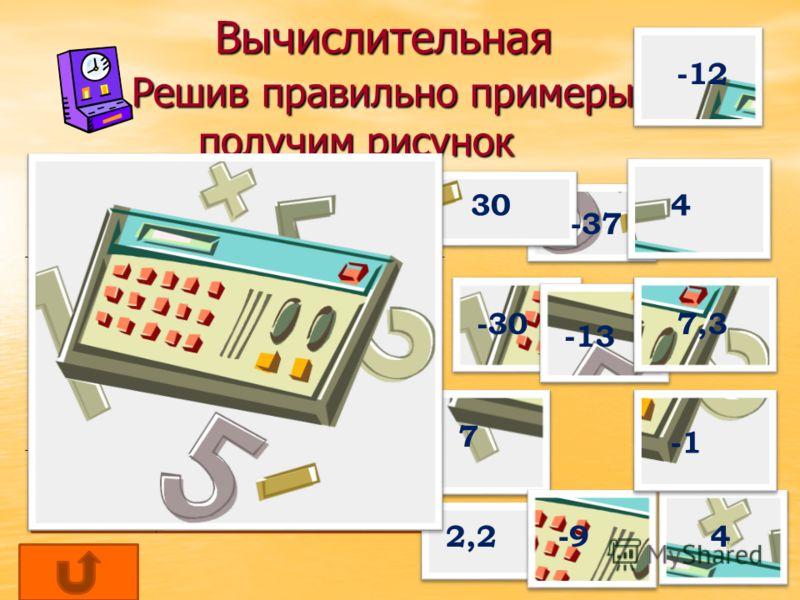 Вычислительная Решив правильно примеры получим рисунок Вычислительная Решив правильно примеры получим рисунок 14 – 26 -7 -(-11) -24:(-6) 15 х(-2) 13-17-5 -9+16,3 -1-2+10 -15 –(-2 ) -24:(-3)-9 -1,2+3,4 -3 Х 9-10 -17+(-13) -12 4 4 -30 -9 7,3 7 2,2 -37