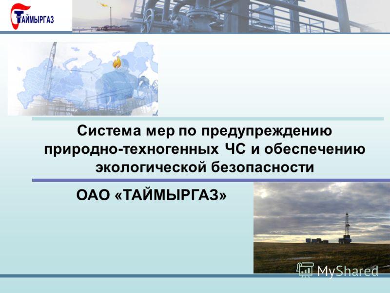 Система мер по предупреждению природно-техногенных ЧС и обеспечению экологической безопасности ОАО «ТАЙМЫРГАЗ»