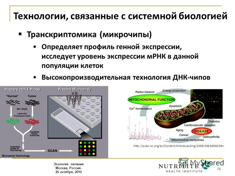 16 Транскриптомика (микрочипы) Определяет профиль генной экспрессии, исследует уровень экспрессии мРНК в данной популяции клеток Высокопроизводительная технология ДНК-чипов Экология питания Москва, Россия. 26 октября, 2010 Технологии, связанные с сис