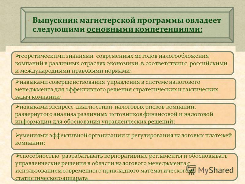 теоретическими знаниями современных методов налогообложения компаний в различных отраслях экономики, в соответствии с российскими и международными правовыми нормами; умениями эффективной организации и регулирования налоговых платежей компании; способ