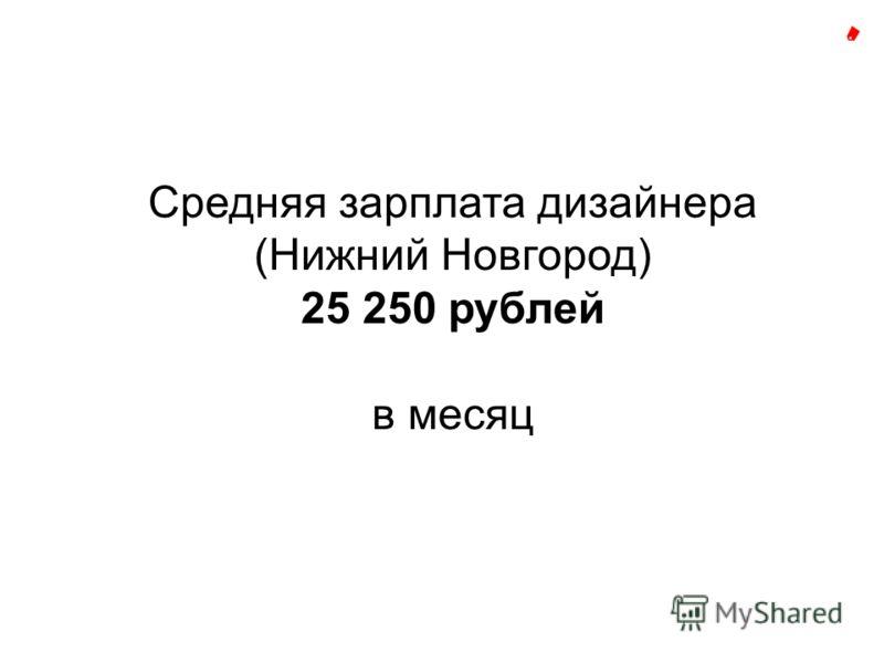 Средняя зарплата дизайнера (Нижний Новгород) 25 250 рублей в месяц