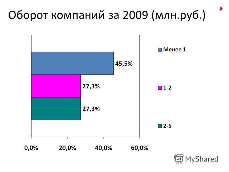 Оборот компаний за 2009 (млн.руб.)