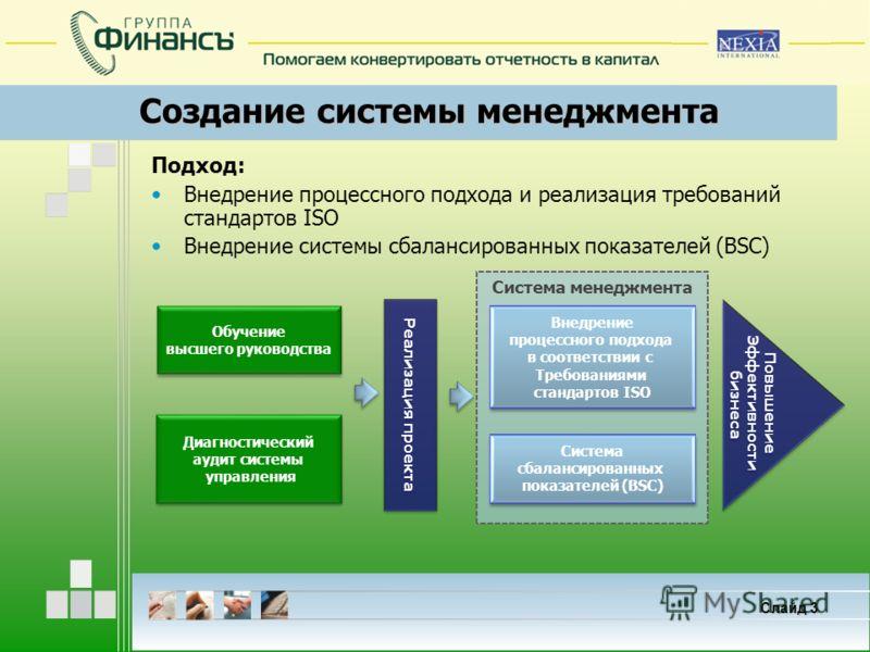 Слайд 3 Создание системы менеджмента Подход: Внедрение процессного подхода и реализация требований стандартов ISO Внедрение системы сбалансированных показателей (BSC) Система менеджмента Обучение высшего руководства Обучение высшего руководства Диагн