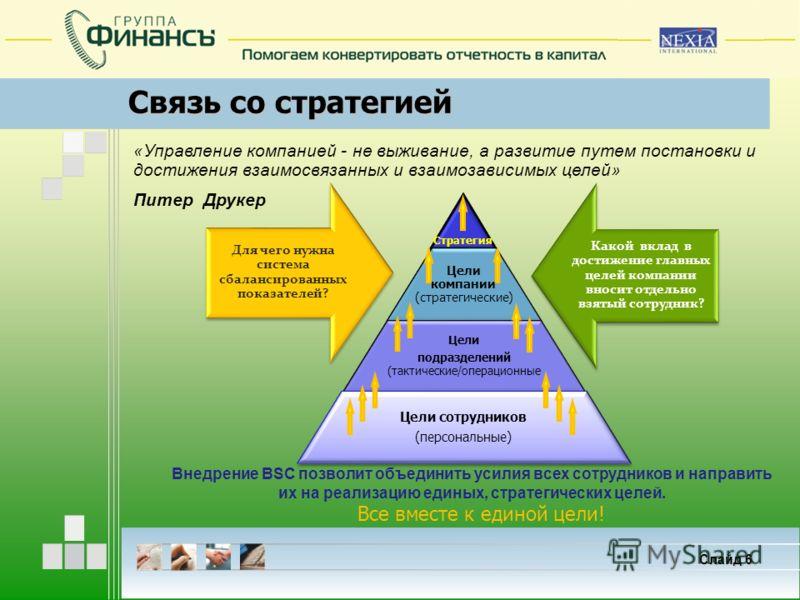 Связь со стратегией Слайд 6 Какой вклад в достижение главных целей компании вносит отдельно взятый сотрудник? Для чего нужна система сбалансированных показателей? Внедрение BSC позволит объединить усилия всех сотрудников и направить их на реализацию
